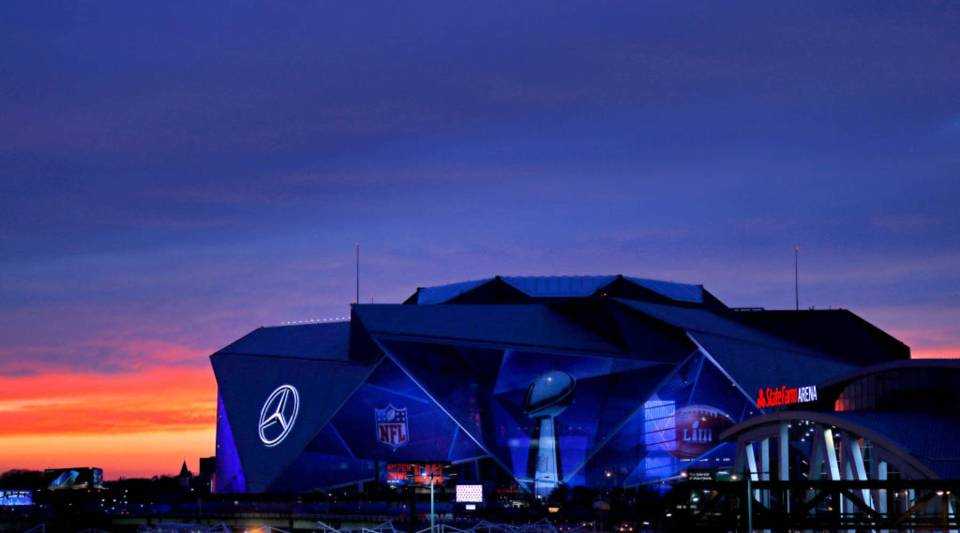 An exterior view of the Mercedes-Benz Stadium,where Super Bowl LIII will take place, is seen on Jan. 27, 2019 in Atlanta, Georgia.