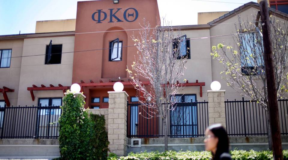 "Greek organizations ""occupy this unique position where they are both dependent on universities and separate from them, and they are big businesses,"" author Alexandra Robbins says. Above, the Phi Kappa Theta fraternity house at San Diego State University in California in 2012."