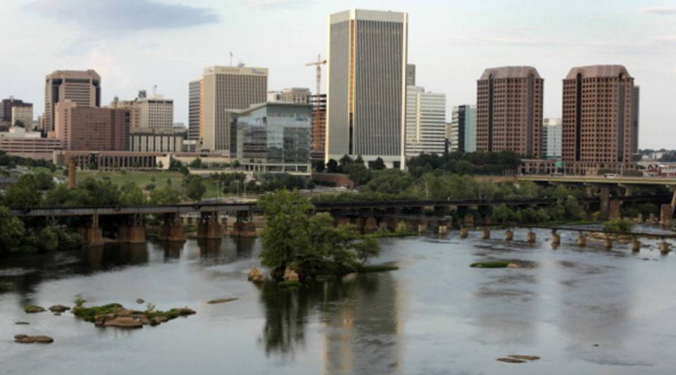 The Richmond skyline is viewed from across the James River on July 23, 2014 in Richmond, Virginia.