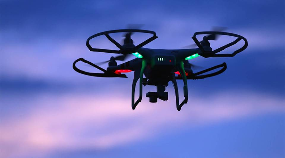 A drone flies above Old Bethpage, New York.