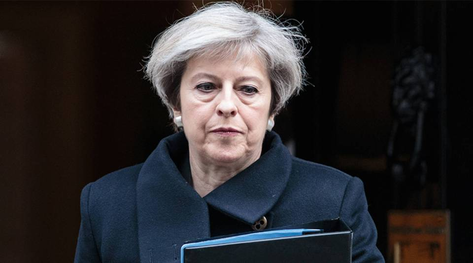 Prime Minister Theresa May leaves Downing Street on March 23, 2017 in London, England.