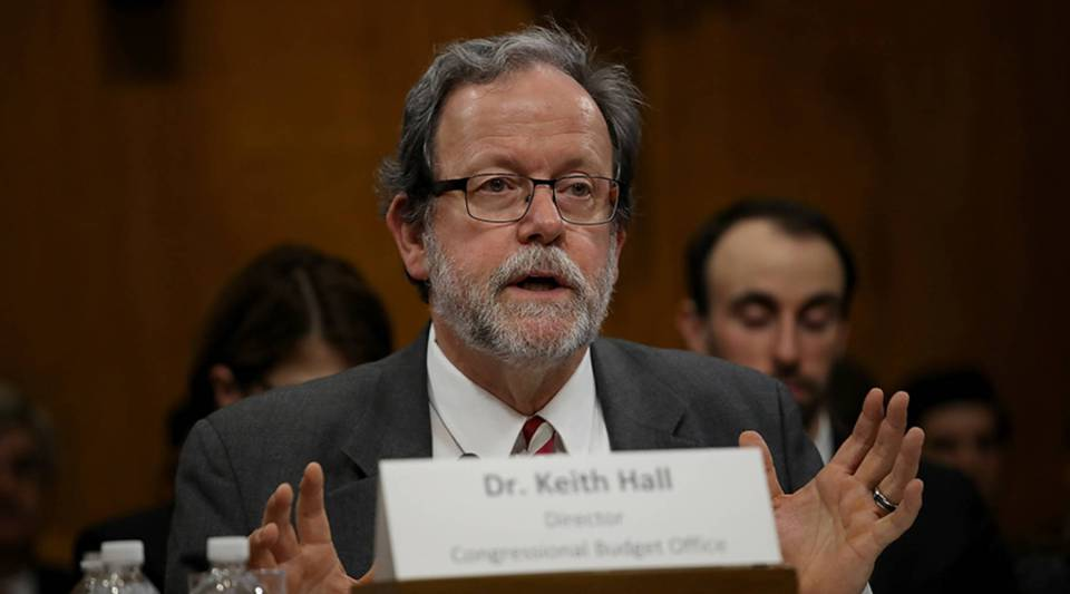 Congressional Budget Office Director Keith Hall testifies before the Senate Budget Committee on Jan. 24, 2018, in Washington, D.C.