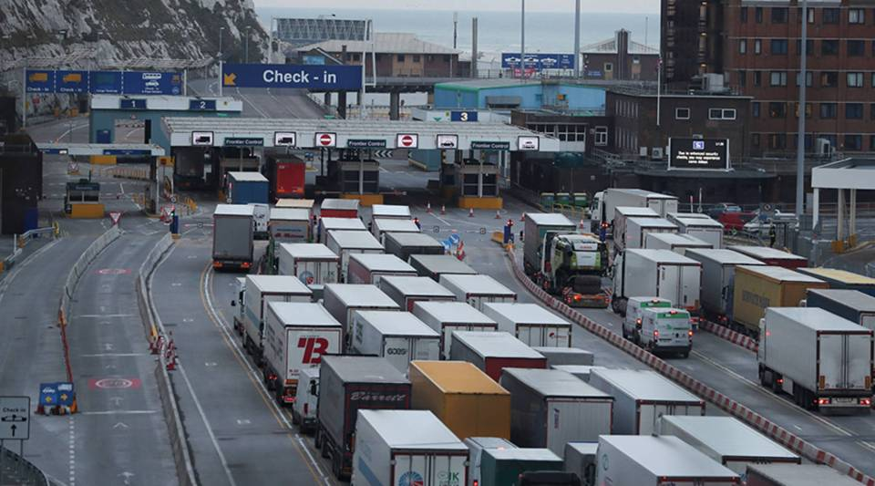 British exporters and businesses fear that a no-deal Brexit would create massive disruption at ports of entry such as the Port of Dover, above.