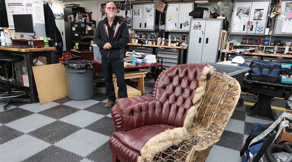 """To restore century-old """"Turkish"""" chairs like this one, Mike Dean will use the original plans and actual horsehair for the stuffing."""
