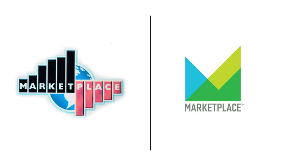 The Marketplace logo in 2009 and 2019.
