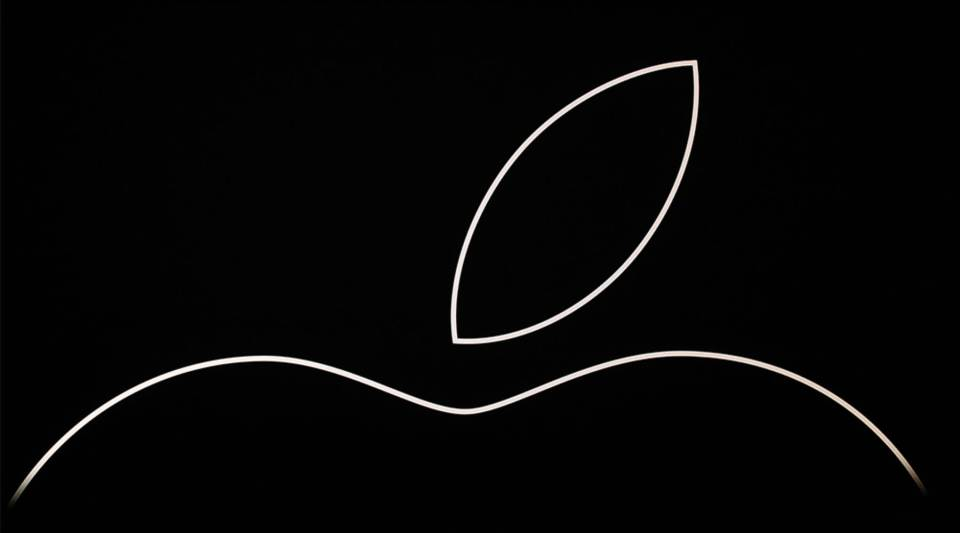 The Apple logo is seen onstage prior to an event at the Steve Jobs Theater on September 12, 2018 in Cupertino, California.