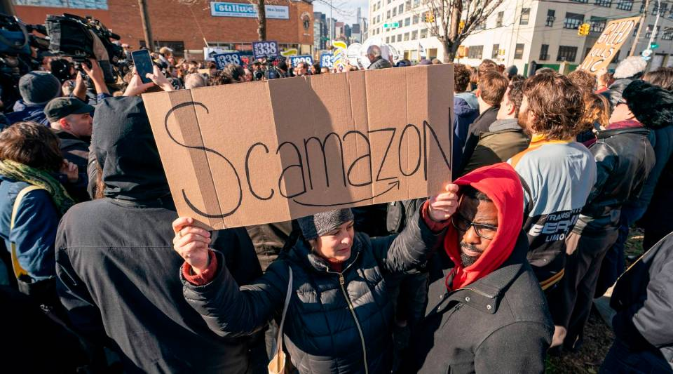 "Protesters gather in Long Island City to say ""No"" to the Amazon HQ2 decision on Nov. 14, 2018 in Long Island City, New York."