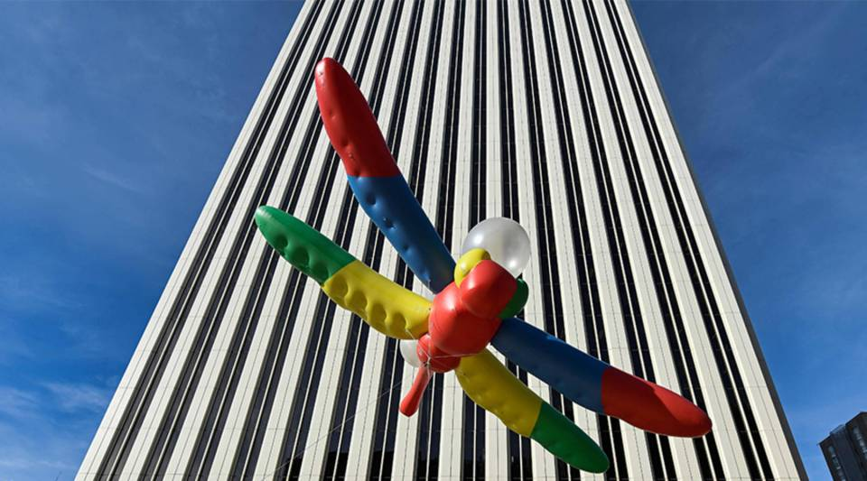 A dragonfly balloon outside Google's headquarters in Madrid is part of a protest of the company's Dragonfly project on Nov. 27, 2018.