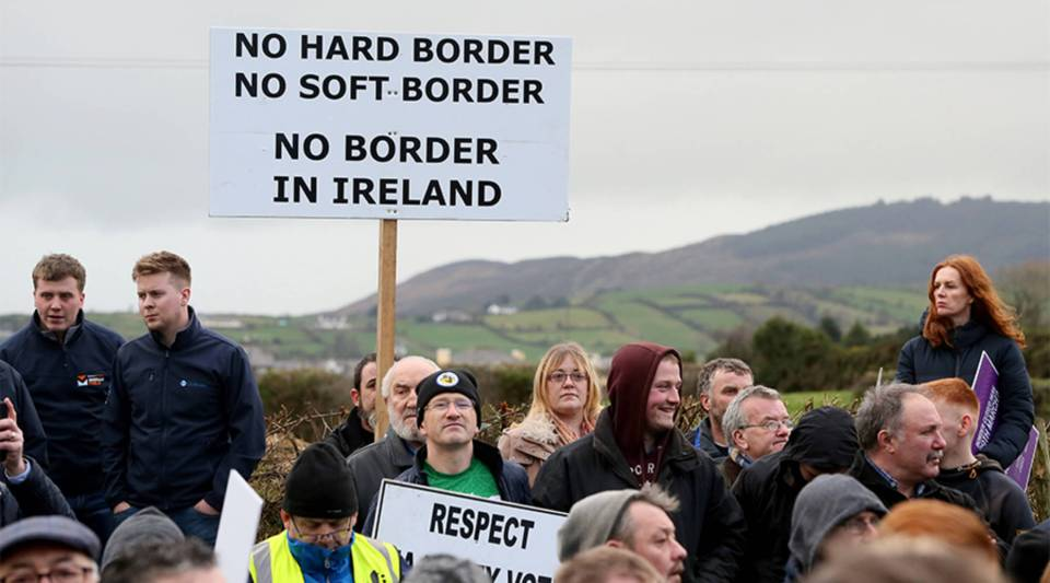 Activists attend a demonstration by the anit-Brexit campaign group Border Communities Against Brexit in Newry, Northern Ireland, on Jan. 26.