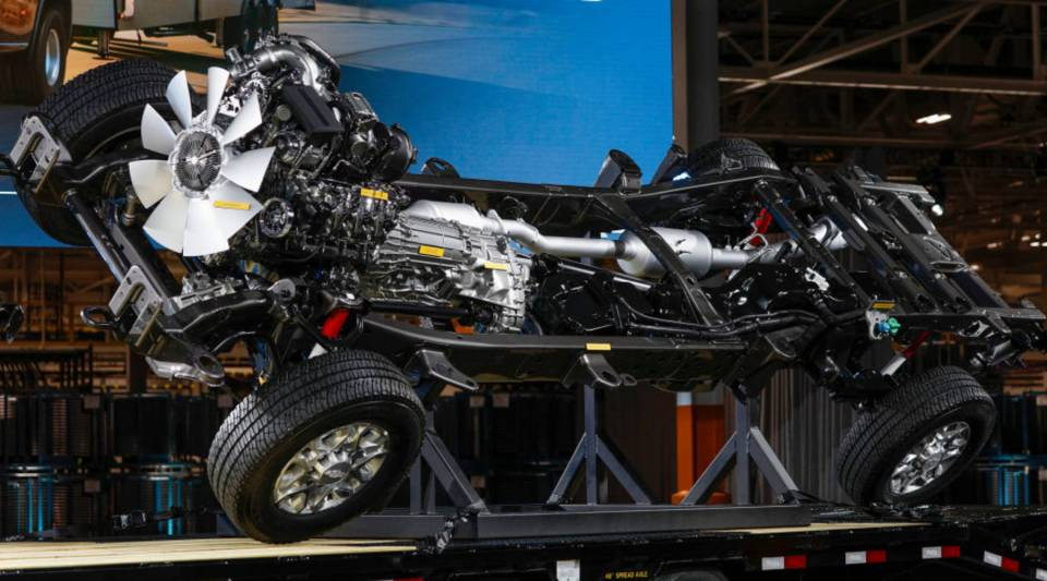 The heavy-duty chassis of the new General Motors 2020 Chevy Silverado HD is shown at the GM Flint Assembly Plant on February 5, 2019 in Flint, Michigan.