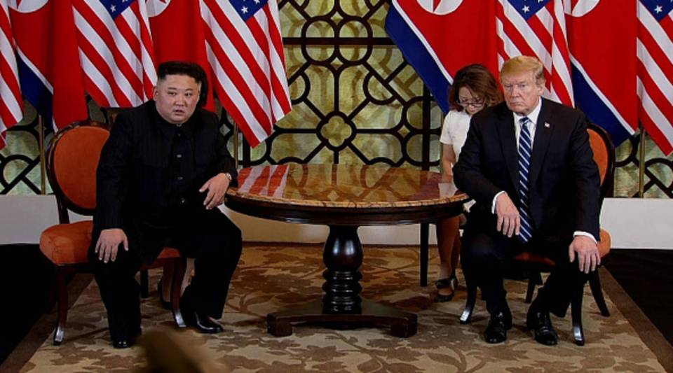 In this handout photo provided by Vietnam News Agency, U.S. President Donald Trump and North Korean leader Kim Jong-un during their second summit meeting at the Sofitel Legend Metropole hotel on Feb. 28, 2019 in Hanoi, Vietnam.