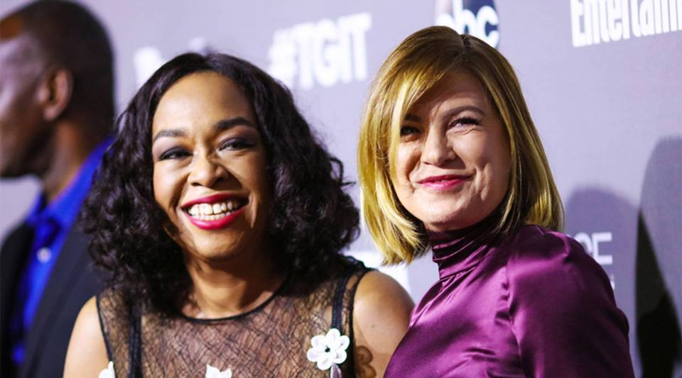 Grey's Anatomy creator Shonda Rhimes and actress Ellen Pompeo attend an event in West Hollywood, California on September 26, 2015.