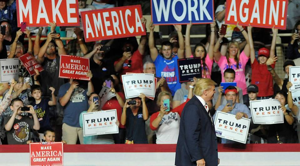 Republican presidential nominee Donald Trump enters a campaign event at the Berglund Center on Sept. 24, 2016 in Roanoke, Virginia.