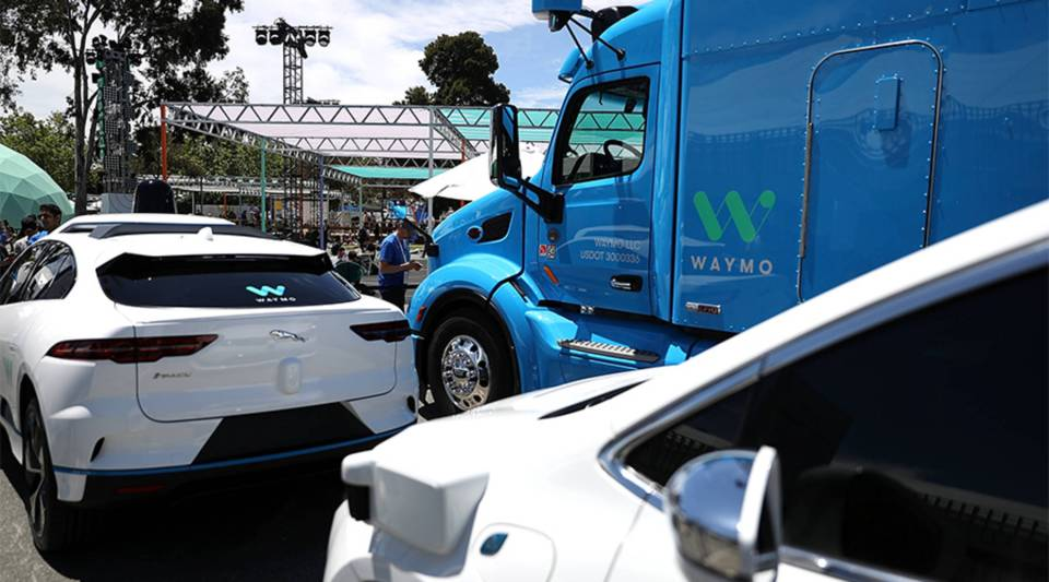 Waymo self-driving vehicles are displayed in Mountain View, California, in 2018.