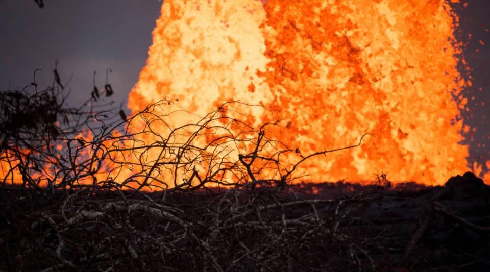 Lava spews in Kilauea's East Rift Zone on May 23, 2018 in Pahoa, Hawaii, amid eruptions from the Kilauea volcano.