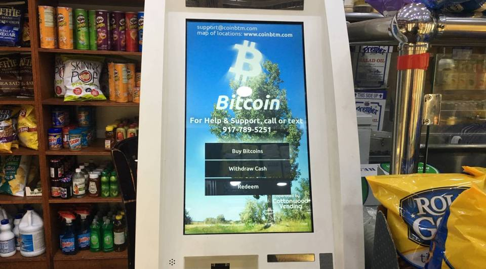 Bitcoin ATM at a deli near Times Square in New York City.