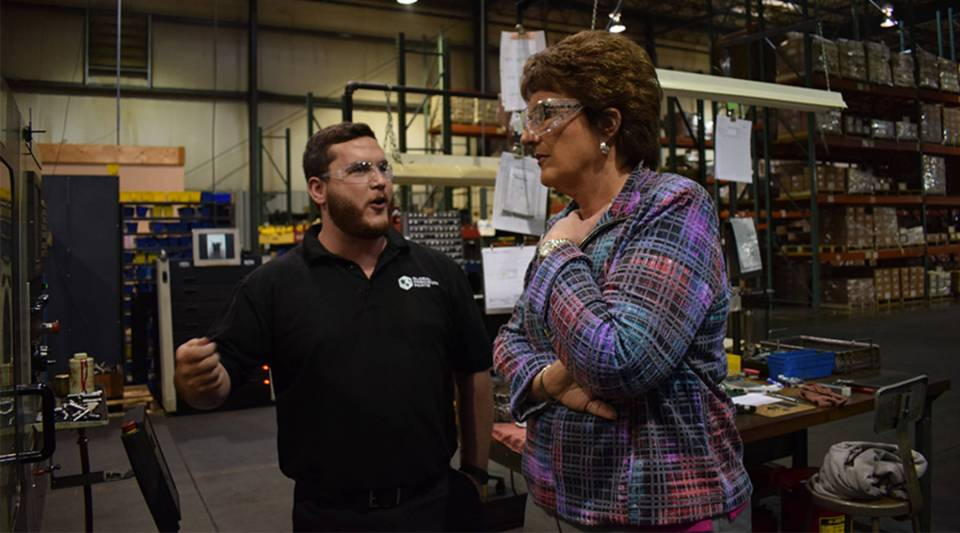 U.S. Rep. Jackie Walorski (R-Ind.) visits a manufacturing facility in Wabash, Indiana.