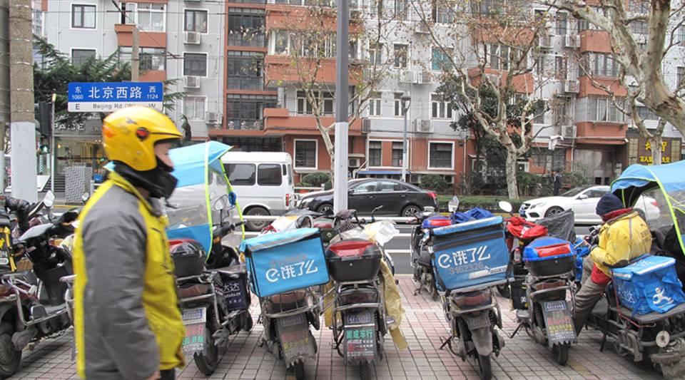 Food deliverers have become an integral part of city living in China.