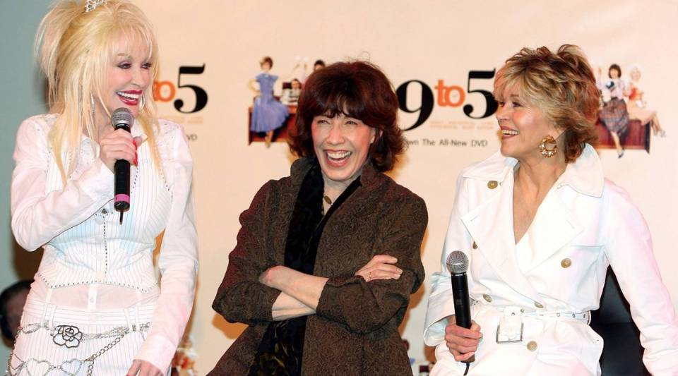 """Actresses Dolly Parton, Lily Tomlin and Jane Fonda reunite at the 25th DVD anniversary launch of """"9 to 5."""""""