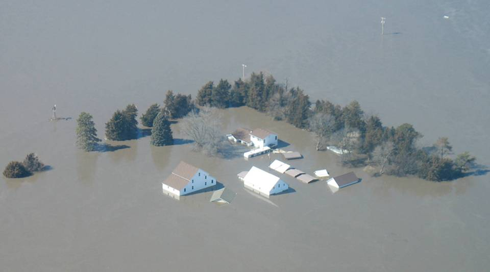Floodwaters in Fremont, Nebraska, on March 16.