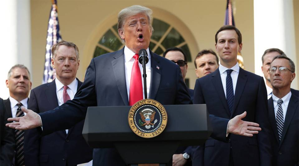 President Donald Trump speaks during a press conference to discuss a revised U.S. trade agreement with Mexico and Canada in the Rose Garden of the White House on October 1, 2018 in Washington, DC.