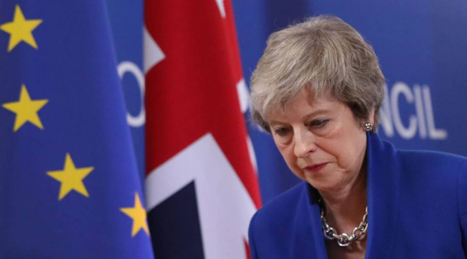 British Prime Minister Theresa May departs after speaking at a press conference after attending a special session of the European Council over Brexit on November 25, 2018 in Brussels, Belgium.