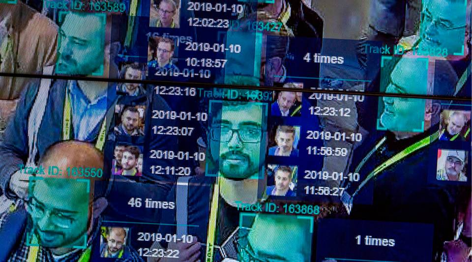 A live demonstration uses artificial intelligence and facial recognition in dense crowd spatial-temporal technology at the Horizon Robotics exhibit during CES 2019 in Las Vegas.