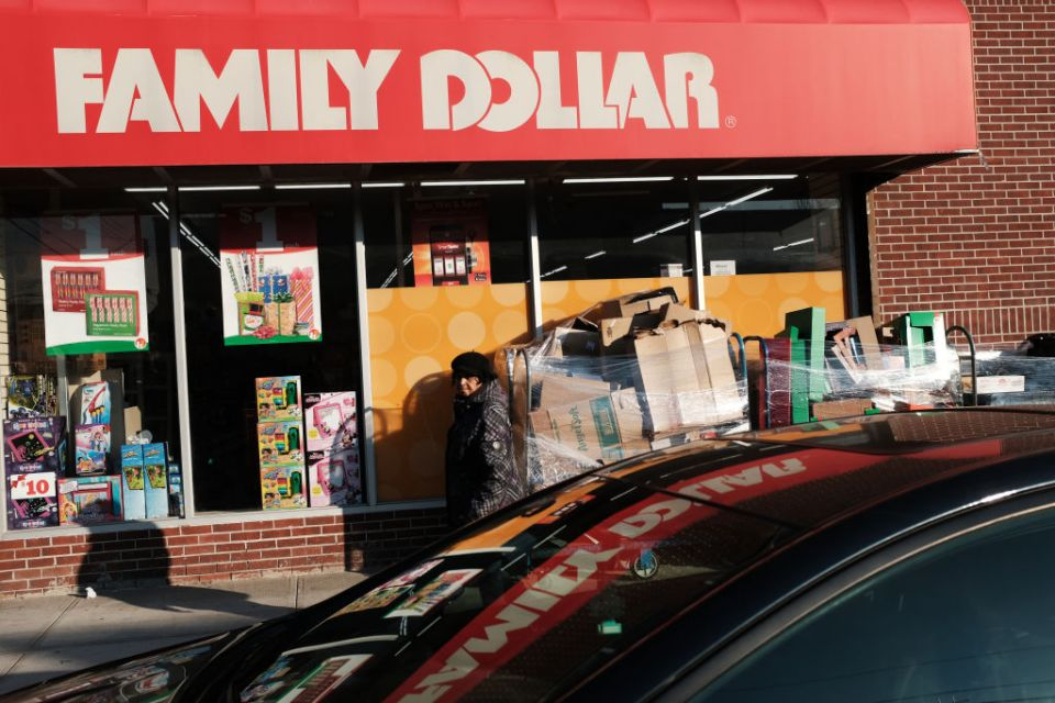 A woman walks by a Family Dollar store on December 11, 2018 in the Brooklyn borough of New York City. As the income gap between rich and poor continues to grow, dollar and 99 cent stores have become increasingly popular in both urban and rural America. Dollar General, one of several discount retail chains, has become one of the fastest growing retailers in the U.S. According to the Institute for Local Self Reliance, there are now over 30,000 dollar stores in the U.S., up from around 18,000 a decade ago. Dollar General and Dollar Tree alone are expected to have 50k stores in the next few years.