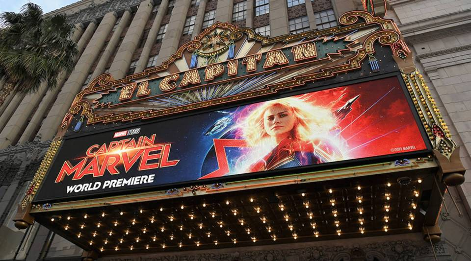 "Marvel Studios' world premiere of ""Captain Marvel"" was held at El Capitan Theatre in Los Angeles on March 4."