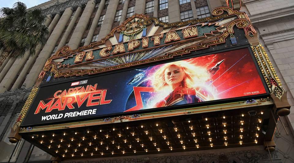 "Marvel Studios' world premiere of ""Captain Marvel"" was held at El Capitan Theatre in Los Angeles on March 4."