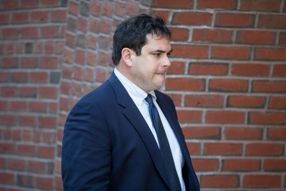 Stanford University sailing coach John Vandemoer arrives at Boston Federal Court for an arraignment on March 12, 2019 in Boston, Massachusetts. John Vandemoer is among several charged in alleged college admissions scam.