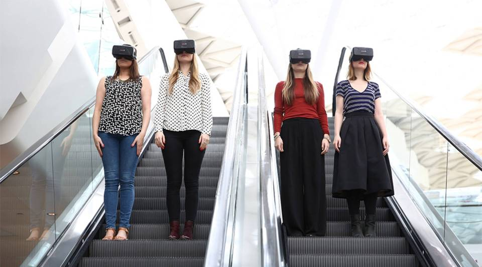 Oculus Rift virtual reality headsets at the Westfield London shopping center in 2015.
