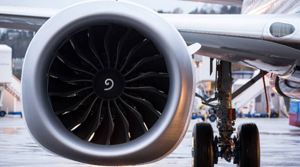 A LEAP engine is pictured on the first Boeing 737 MAX airliner is pictured at the company's manufacturing plant, on Dec. 8, 2015, in Renton, Washington.