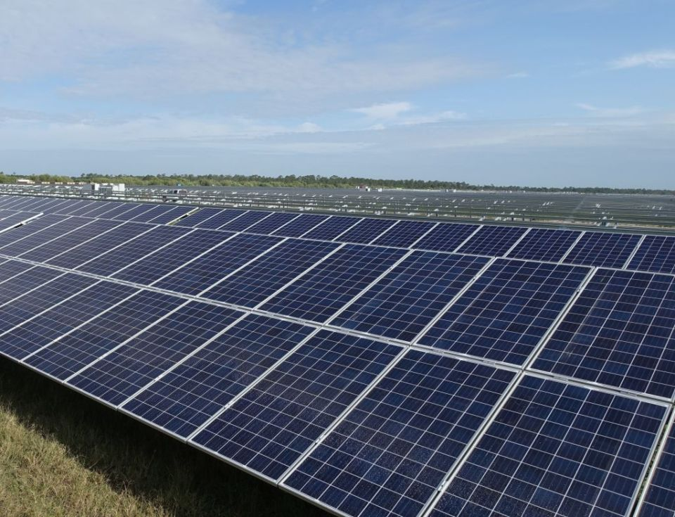 A solar farm under construction in Punta Gorda, Florida, on April 22, 2016.