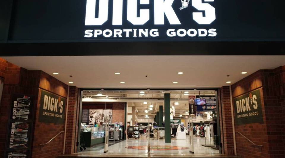 The entrance to the Dick's Sporting Goods store in Glendale, California is seen February 28, 2018.