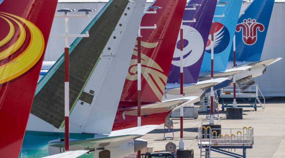 Tails of Boeing 737 aircraft are pictured at Boeing Field, on March 16, 2018 in Seattle, Washington.