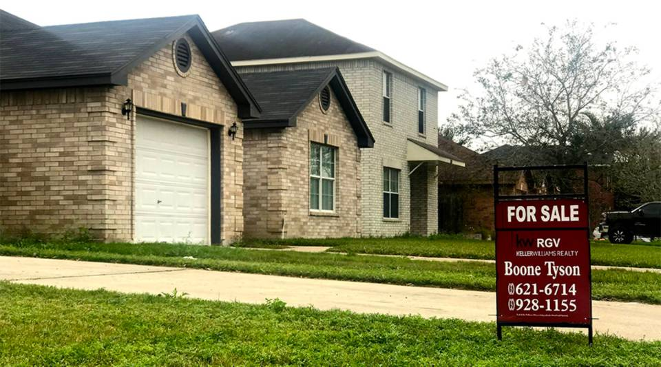 A two-story home for sale in McAllen, Texas on Feb. 1 2019. The median home value in McAllen is about $140,000.