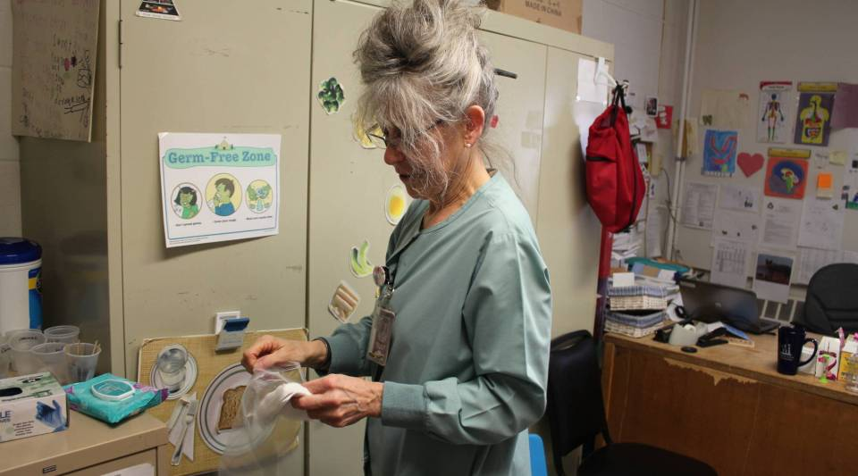 Nurse Maxine Pare inside her office at Etna-Dixmont Elementary School in Etna, Maine.