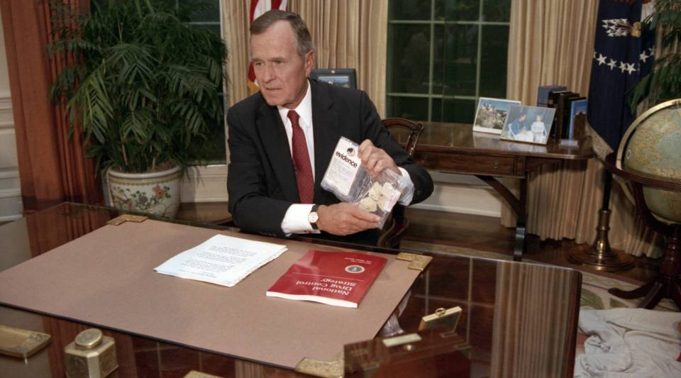 President George H.W. Bush addressing the nation on Sept. 5, 1989. The president illustrated the threat of drugs by holding up a baggie of crack he said had been seized across the street from the White House.