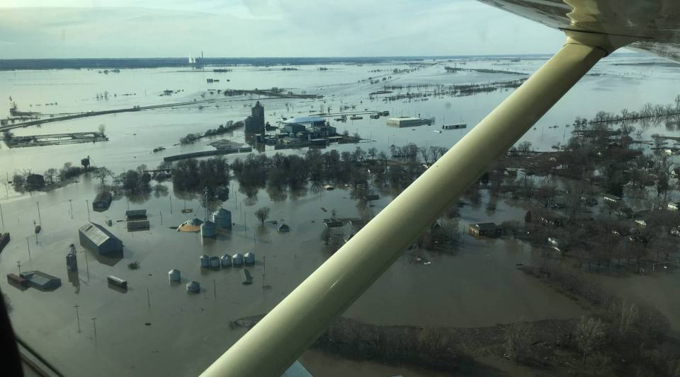 An aerial shot of Hamburg, Iowa, on March 22, days after mass flooding forced evacuations, closed Interstate 29 and racked up losses in the billions.