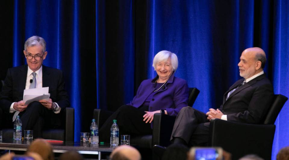 Federal Reserve Chair Jerome Powell and his predecessors, Janet Yellen and Ben Bernanke, participate in a panel discussion at the American Economic Association conference on January 4, 2019 in Atlanta, Georgia.