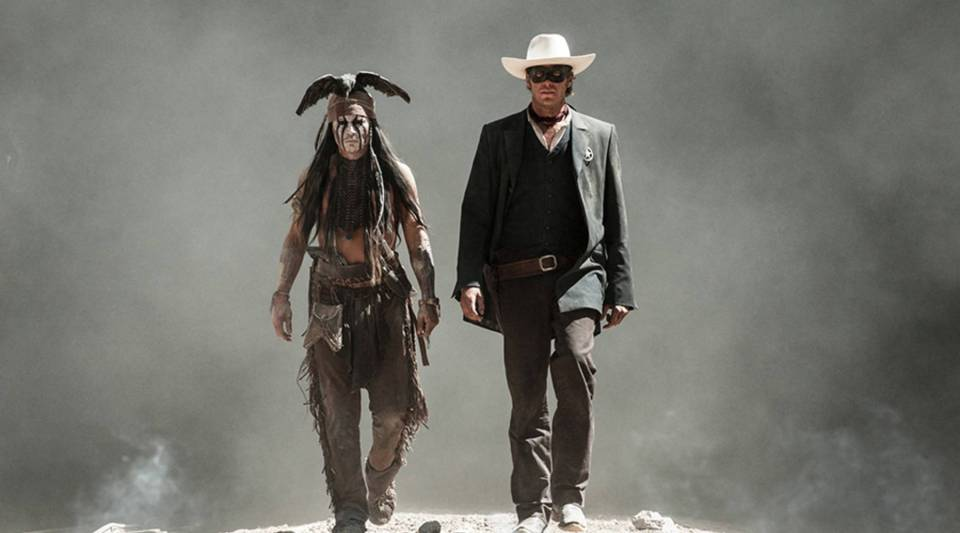 "Johnny Depp (L) and Armie Hammer (R) in Disney's ""The Lone Ranger."""