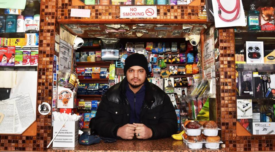 Shahab Mothena, co-owner of Amir Deli in Brooklyn, is waiting for his Yemeni wife, currently living in Egypt, to be issued a visa.