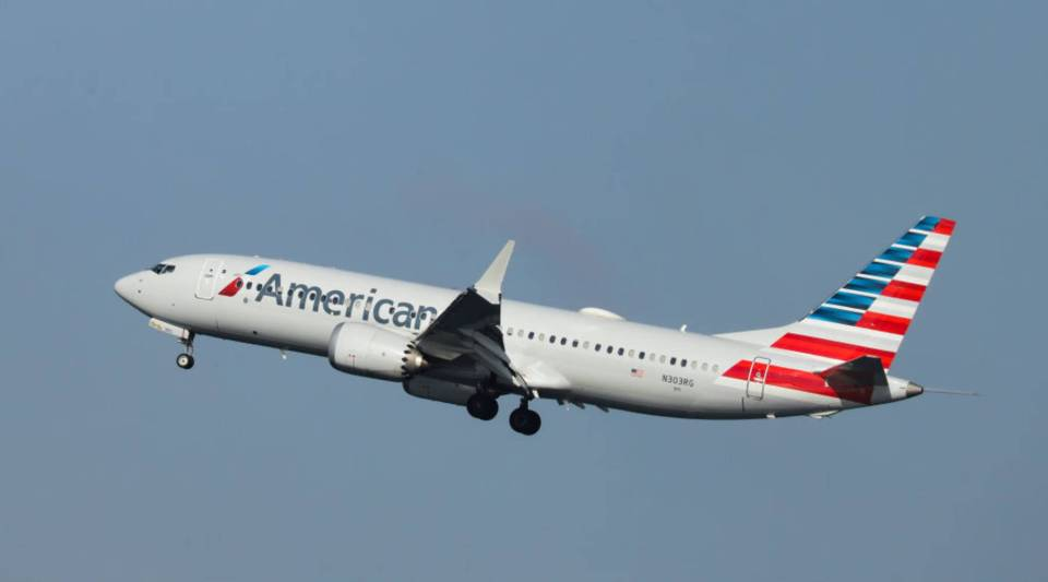An American Airlines Boeing 737 Max 8, on a flight from Miami to New York City, prepares to land at LaGuardia Airport on Monday morning, March 11, 2019 in the Queens borough of New York City.