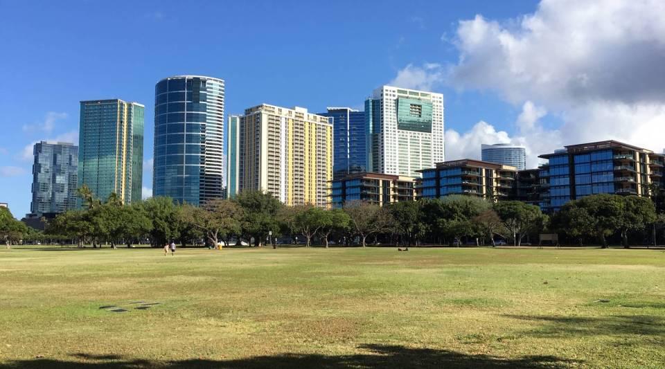 Condo buildings visible fromAla Moana Beach Park.