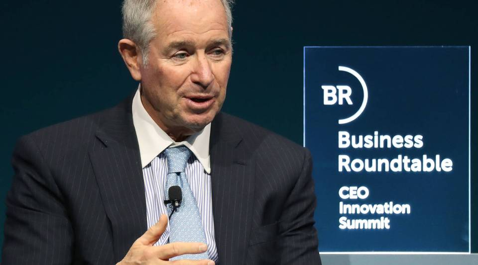 Steve Schwarzman, CEO and co-founder of the Blackstone Group, participates in a Business Roundtable discussion on 'Transitioning Innovations from Labor-to Market', during a CEO Innovation Summit, on December 6, 2018 in Washington, D.C.