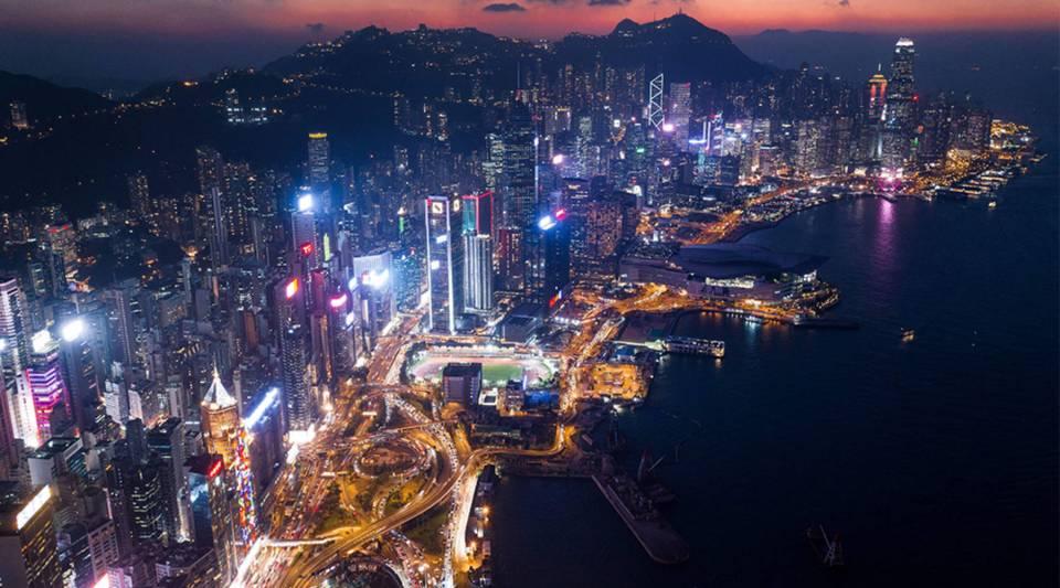 Hong Kong at night.