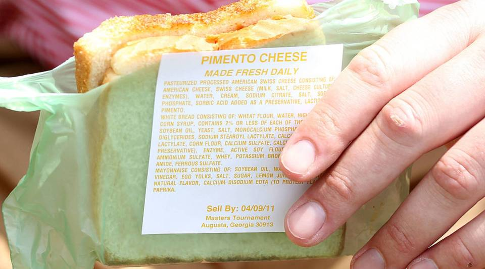 One of Augusta National's famed pimento cheese sandwiches is seen during the second round of the 2011 Masters Tournament at Augusta National Golf Club on April 8, 2011 in Augusta, Georgia.