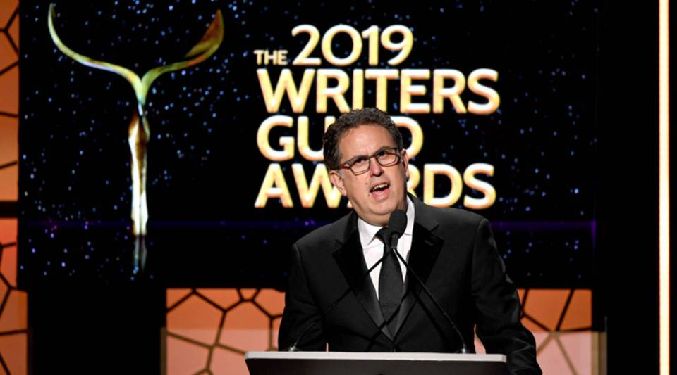 WGA West President David Goodman speaks during the 2019 Writers Guild Awards at the Beverly Hilton Hotel on Feb. 17 in Beverly Hills, California.