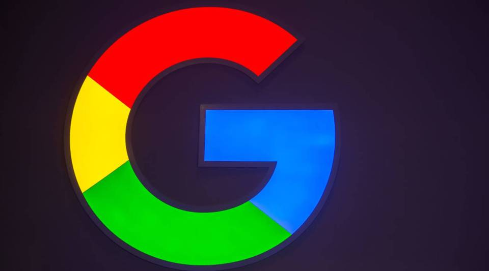 A logo sits illumintated outside the Google booth on day 2 of the GSMA Mobile World Congress 2019 on February 26, 2019 in Barcelona, Spain.